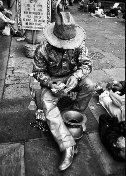 Human statue Mardi Gras  B W .jpg