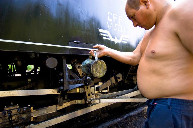 Servising steam locomotive of logging train, Vaser Valley, Maram