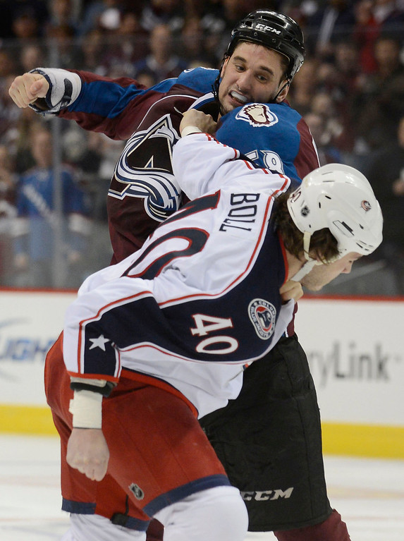 . DENVER, CO. - JANUARY 24: Colorado Avalanche left wing Patrick Bordeleau (58) fights Columbus Blue Jackets right wing Jared Boll (40) during the first period at Pepsi Center. The Colorado Avalanche take on the Columbus Blue Jackets  (Photo By John Leyba / The Denver Post)
