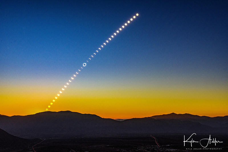 A timelapse montage showing the path of the sun across the sky during the entire solar eclipse and through to sunset.  Selected as an Editor's Favorite by National Geographic.