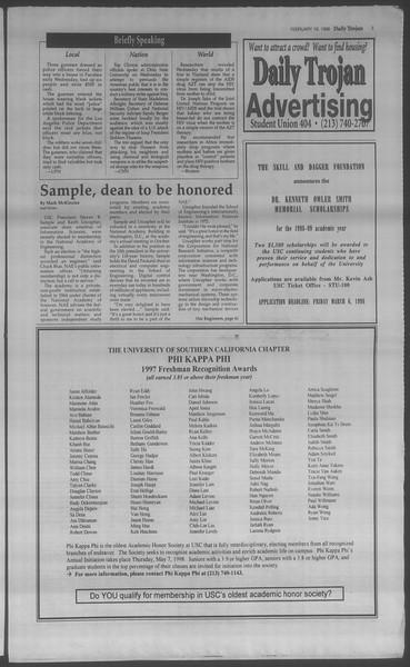 Daily Trojan, Vol. 133, No. 27, February 19, 1998