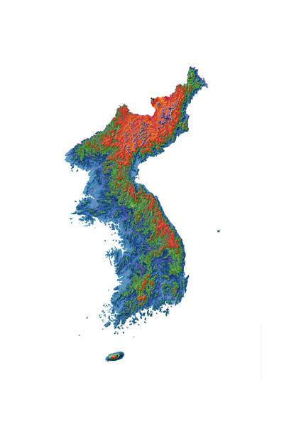 Elevation map of Korea