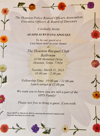 HPROA Surviving Spouses Luncheon 2015; Houston Racquet Club