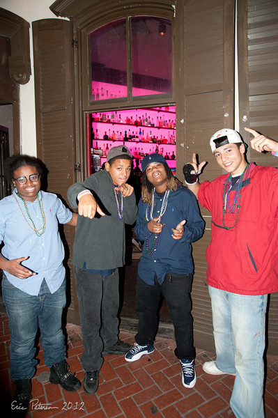 These kids were from Baton Rouge (I think) and just hanging on the street. I walked by and they asked to have their picture taken (emailed those to them) We chatted for quite a while and then they started getting other people to pose with them.