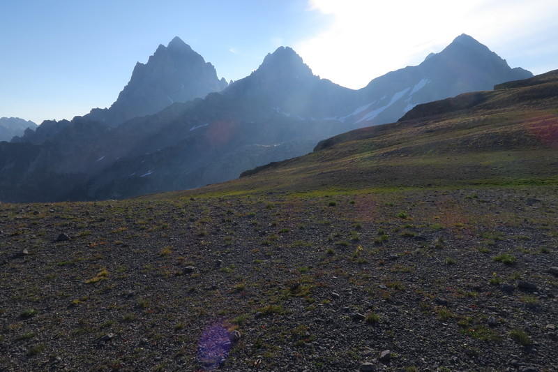 Grand, Middle and South Teton from Hurricane Pass
