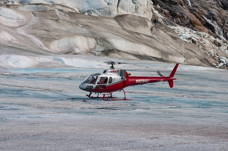 Temsco Helicopter on blue ice on the glacier.