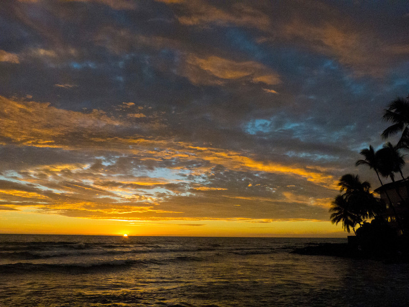 Aloha, the last sunset we saw in Kona, from the beach outside our rental home.