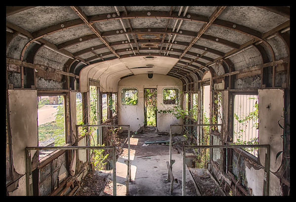 abandoned train car, samut sakhon, thailand