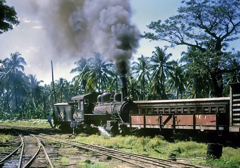 January 1968.  FES 36 is an ex-Oahu engine that was sold to the FES after World War Two when the  Oahu line abandoned mainline operations.  It was on the dead line the next time we visited.