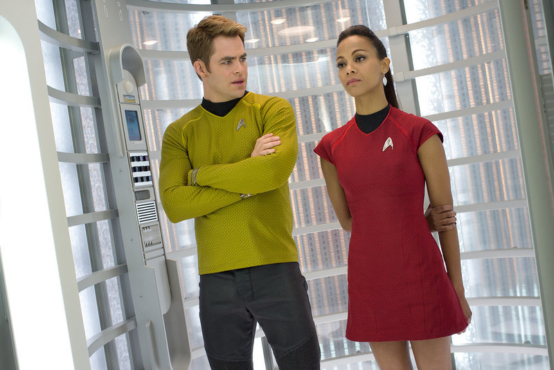 . (Left to right)  Chris Pine is Kirk and Zoe Saldana is Uhura in STAR TREK INTO DARKNESS, from Paramount Pictures and Skydance Productions.   (Photo by Zade Rosenthal)