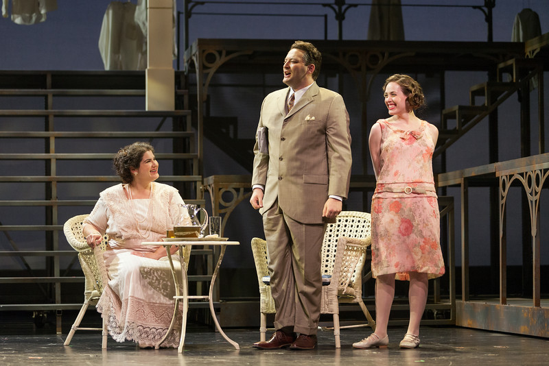 "Jennifer Root as Elizabeth Griffiths, Aleksey Bogdanov as Samuel Griffiths and Meredith Lustig as Bella Griffiths in The Glimmerglass Festival's new production of Tobias Picker's ""An American Tragedy."" Photo: Karli Cadel/The Glimmerglass Festival."