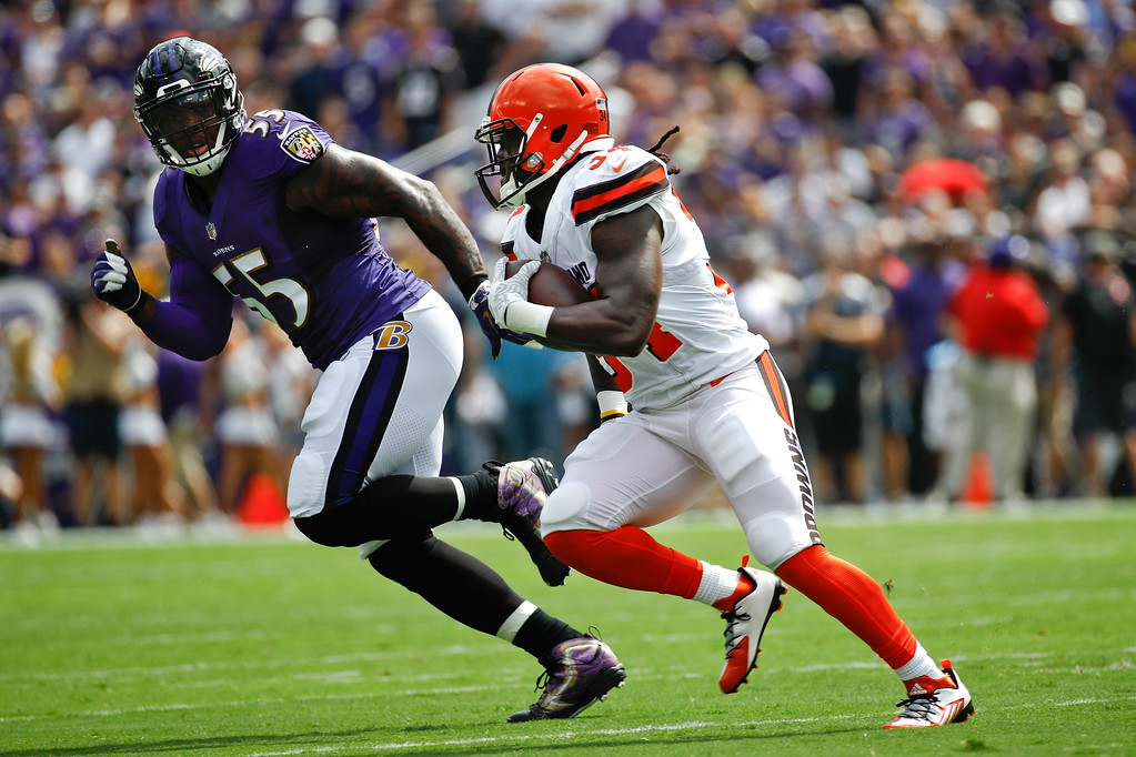 . Baltimore Ravens outside linebacker Terrell Suggs (55) chases down Cleveland Browns running back Isaiah Crowell (34) during the first half of an NFL football game in Baltimore, Sunday, Sept. 17, 2017. (AP Photo/Patrick Semansky)