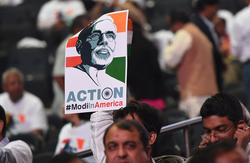 . The crowd of US-based supporters await the arrival of Prime Minister Narendra Modi of India for a community reception September 28, 2014 at Madison Square Garden in New York. Modi received a rock star reception as thousands cheered on the new right-wing leader in a packed arena. Modi, a Hindu nationalist who swept to power earlier this year, addressed the United Nations on September 27 at the start of a visit to the United States, which is eager to court him after shunning the right-wing leader for a decade. DON EMMERT/AFP/Getty Images