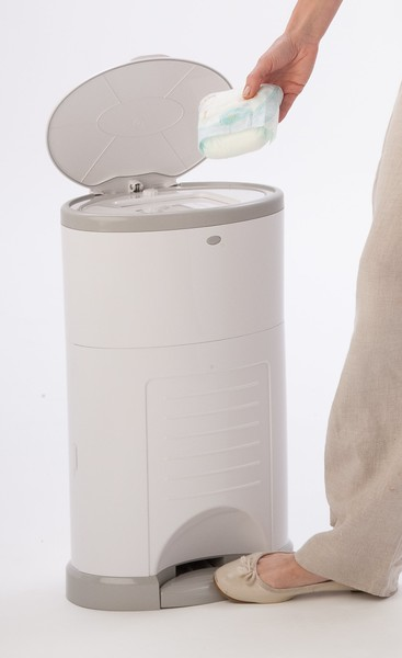 Korbell_Nappy_Bin_Product_Shot_Plus_26L_Pure_White_Side_Angle_In_Use.jpg