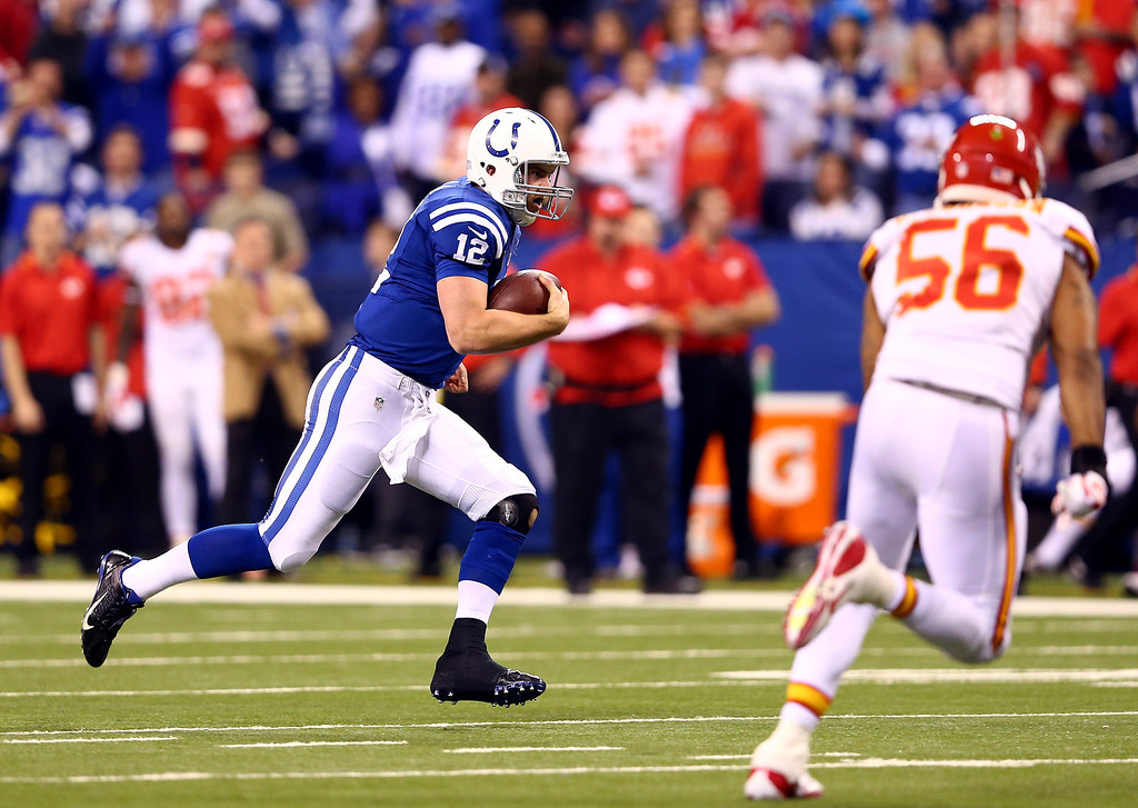 . INDIANAPOLIS, IN - JANUARY 04: Quarterback Andrew Luck #12 of the Indianapolis Colts runs the ball as inside linebacker Derrick Johnson #56 of the Kansas City Chiefs defends during a Wild Card Playoff game at Lucas Oil Stadium on January 4, 2014 in Indianapolis, Indiana.  (Photo by Andy Lyons/Getty Images)