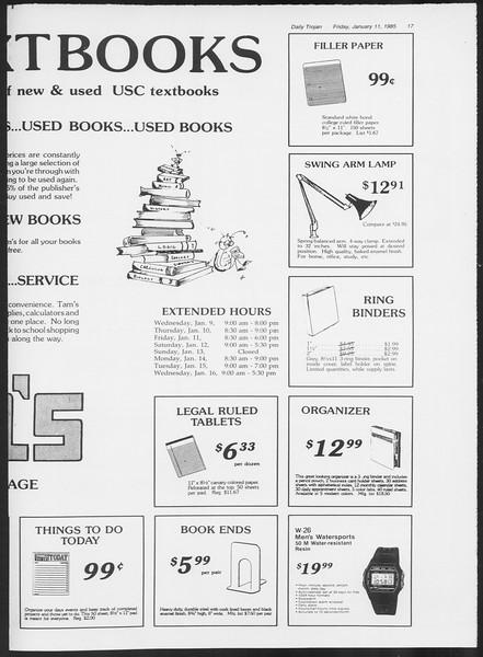 Daily Trojan, Vol. 98, No. 1, January 11, 1985