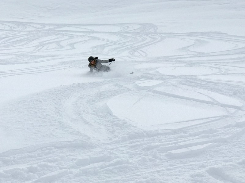 Ms. Valentino taking a tumble in the soft powder