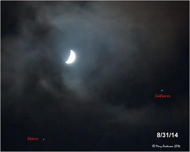 Moon, Mars & Saturn 8/31/14
