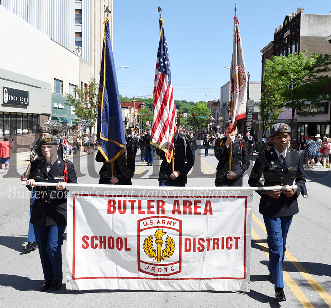 Harold Aughton/Butler Eagle: Members of the Butler Area School District JROTC participated in the Memorial Day parade, Monday, May 27.