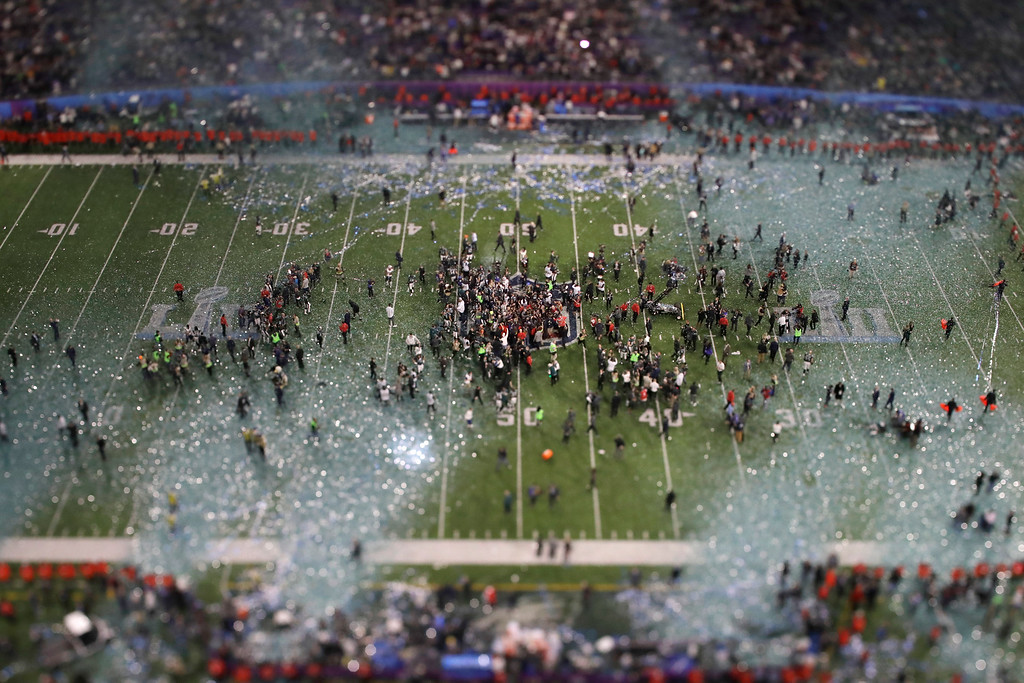 . In this picture made with a specialty lens the Philadelphia Eagles celebrate after the NFL Super Bowl 52 football game against the New England Patriots, Sunday, Feb. 4, 2018, in Minneapolis. The Eagles won 41-33. (AP Photo/Matt Slocum)