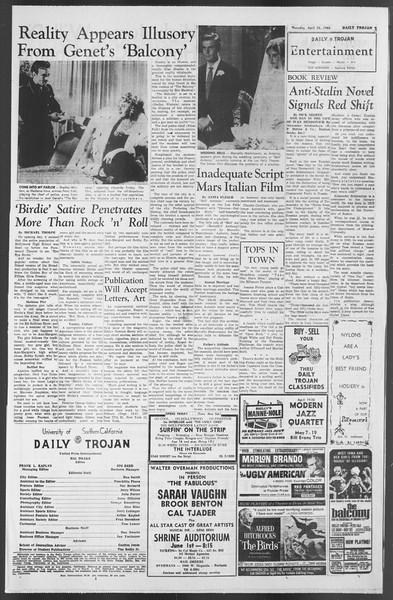 Daily Trojan, Vol. 54, No. 105, April 25, 1963
