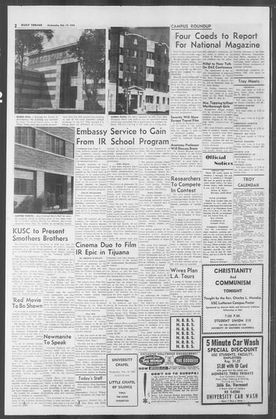 Daily Trojan, Vol. 53, No. 69, February 14, 1962