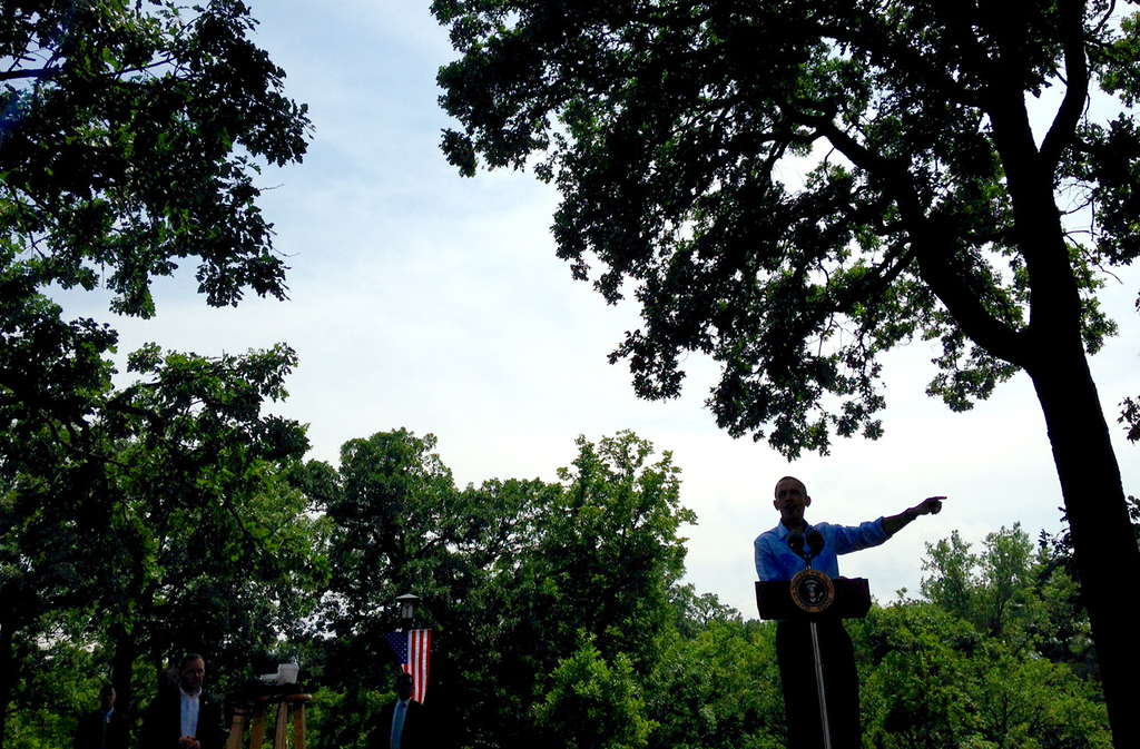 . President Barack Obama answers a question from an audience member during a town hall meeting at Minnehaha Park in Minneapolis on Thursday.  (Pioneer Press: Ben Garvin)