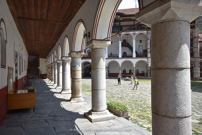 Rila Monastery, view of the courtyard and the arched outer corridors