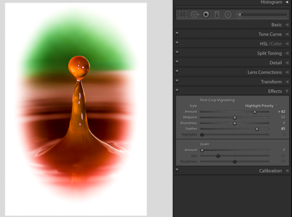 Creating a soft transition by moving the Feather slider to the right