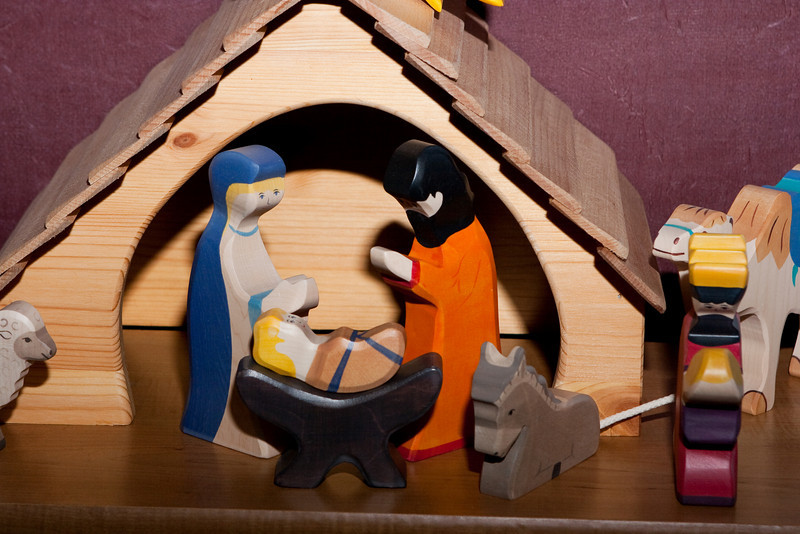 Testing my new Flash Bracket with a photo of the wood nativity.  Direct flash.