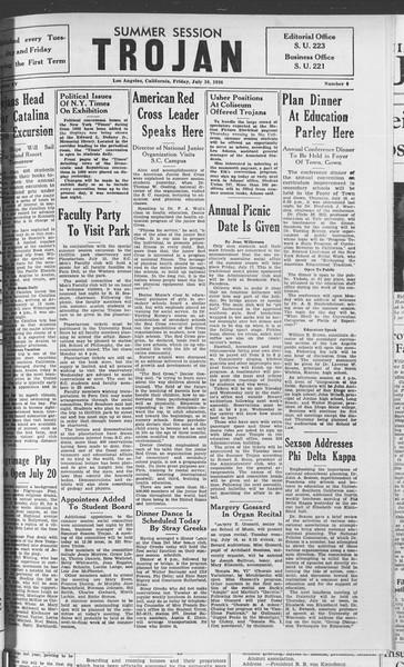 Summer Session Trojan, Vol. 15, No. 6, July 10, 1936