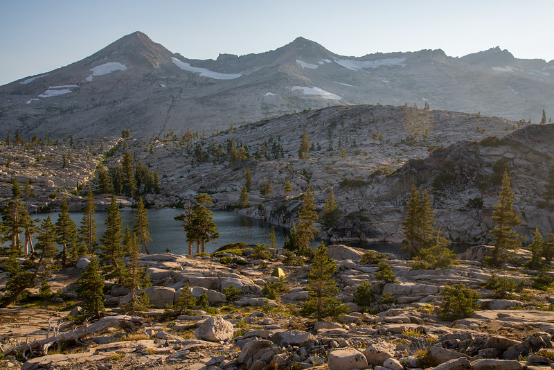 Camp among a land of water and granite in the Desolation Wilderness.