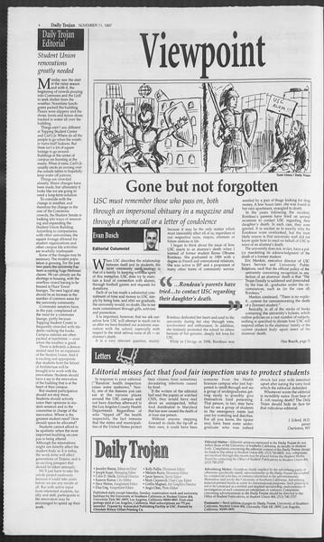 Daily Trojan, Vol. 132, No. 52, November 11, 1997