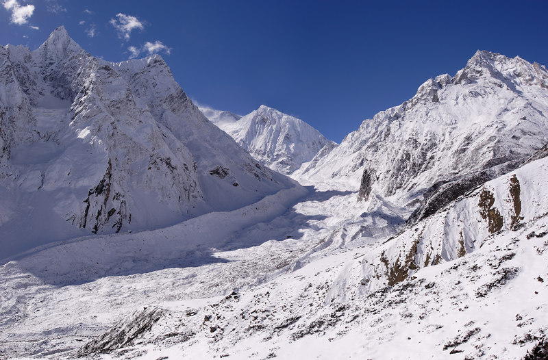 A four picture panorama of a snow covered glacier on the Manaslu trail - somewhere between Samdo and Dharamsala. We are over 4000m above sea-level.