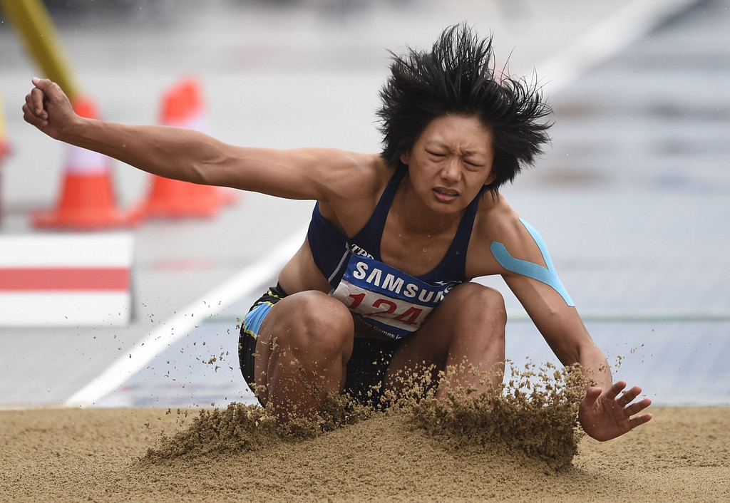 . Taiwan\'s Chu Chia Ling competes in the women\'s heptathlon long jump athletics event during the 17th Asian Games at the Incheon Asiad Main Stadium in Incheon on September 29, 2014. MARTIN BUREAU/AFP/Getty Images