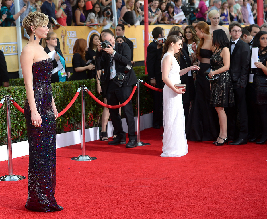 . Jennifer Lawrence arrives at the 20th Annual Screen Actors Guild Awards  at the Shrine Auditorium in Los Angeles, California on Saturday January 18, 2014 (Photo by Michael Owen Baker / Los Angeles Daily News)
