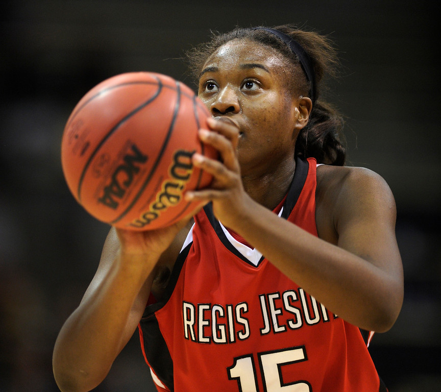 . BOULDER, CO. - MARCH 16: Raiders center Diani Akigbogun concentrated on a free throw in the second half. The Regis Jesuit High School girl\'s basketball team defeated Highlands Ranch 53-46 in the 5A championship game Saturday, March 16, 2013 at the Coors Events Center in Boulder.  (Photo By Karl Gehring/The Denver Post)