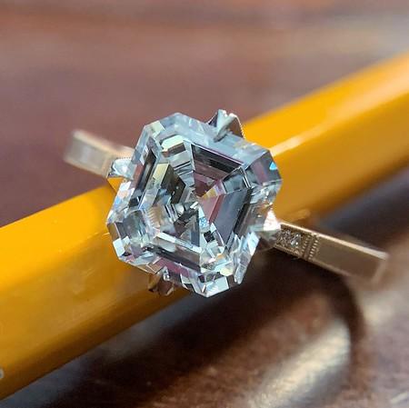 1.62ct Deco Asscher Cut Diamond, Erika Winters' Tilda Solitaire