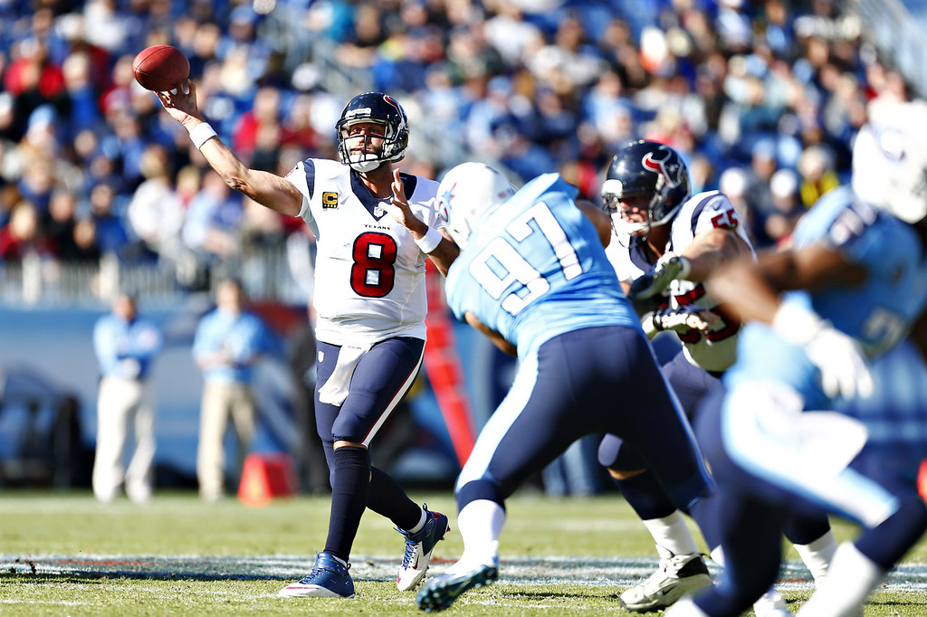 . Matt Schaub #8 of the Houston Texans throws a pass against the Tennessee Titans at LP Field on December 29, 2013 in Nashville, Tennessee.  (Photo by Wesley Hitt/Getty Images)