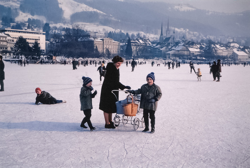 The Wenk family on the frozen Lake of Zug begining of March 1963. It must have been a cold winter indeed if the lake was frozen that late.