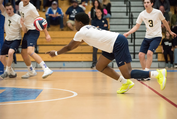 06/04/18 Wesley Bunnell | Staff Newington volleyball defeated South Windsor 3-0 in a game played at Glastonbury High School on Monday evening. Louis Egbuna (2).