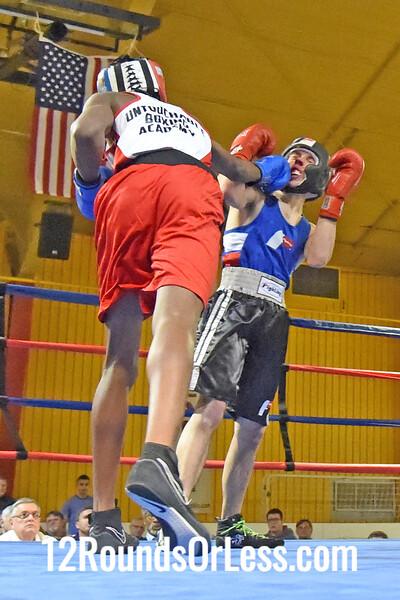 Bout 6 Dwayne Johnson, Blue Gloves, Untouchable BA -vs- Bradley Rist, Red Gloves, Unattached, 141 Lbs, Novice, 2 Min. Rds.