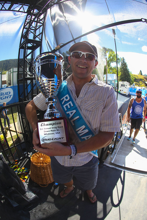 . Aaron Huckstep wins a drag race for guests at Bud Light\'s Whatever, USA  on September 6, 2014 in Crested Butte, Colorado. (Photo by Jason Bahr/Getty Images for Bud Light)