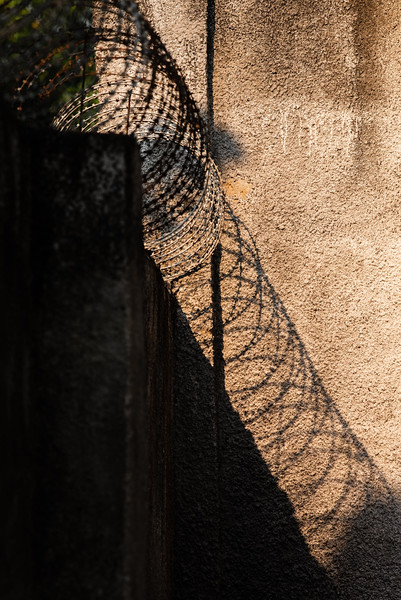 Barbed wire protects WV office in Kananga, Kasai Province, DRC., where there has been quite a bit of conflict.