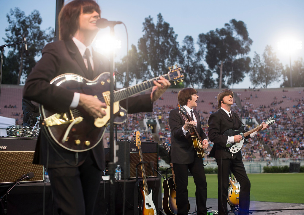 . Liverpool Legends, a Beatles tribute band, performs during the 88th Annual Fourth of July Celebration, Americafest at the Rose Bowl in Pasadena Friday night, July 4, 2014. (Photo by Sarah Reingewirtz/Pasadena Star-News)