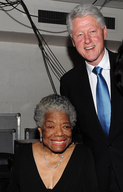 . Dr. Maya Angelou (L) and Former U.S. President Bill Clinton attend the The 2009 Women of the Year hosted by Glamour Magazine at Carnegie Hall on November 9, 2009 in New York City.  (Photo by Dimitrios Kambouris/Getty Images for Glamour Magazine)