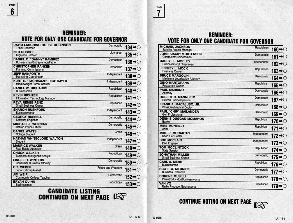 . October 7, 2003 Statewide Special Election ballot.   Los Angeles Daily News file photo