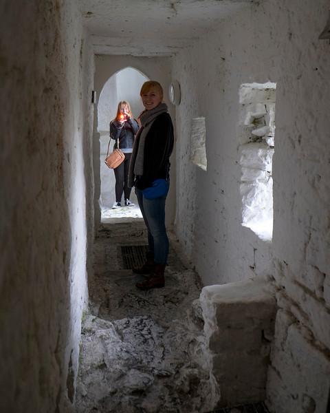 Girls in a castle.
