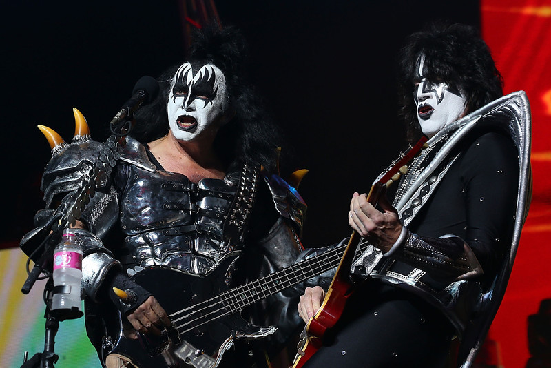 . Gene Simmons and Tommy Thayer of KISS perform live on stage as part of their Monster Tour with Motley Crue and Thin Lizzy at Perth Arena on February 28, 2013 in Perth, Australia.  (Photo by Paul Kane/Getty Images)