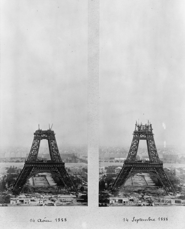 . The Eiffel tower under construction covering the period The construction of the Eiffel Tower - 14th August 1888 to 14th September 1888. The first platform is completed and the second is under construction.   (Photo by Henry Guttmann/Getty Images)